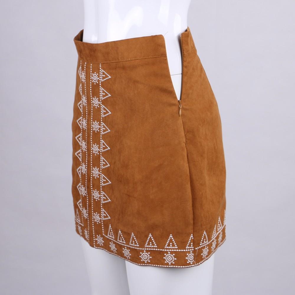 HTB1plDhNFXXXXaGXFXXq6xXFXXXf - FREE SHIPPING  Embroidery Suede A-line Skirt Black Brown Mini Skirts JKP350