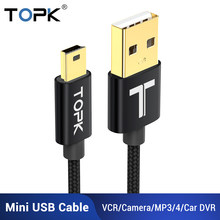 TOPK Mini USB Cable Mini USB to USB Fast Data Sync Charger Cable for Cellular Phone Digital Camera MP3 MP4 Player Tablets GPS(China)
