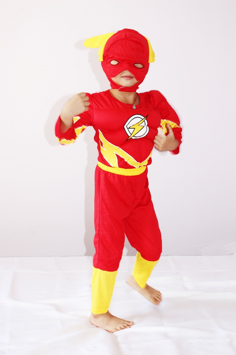 Boy The <font><b>Flash</b></font> Muscle <font><b>Costume</b></font> Kids Halloween <font><b>Costume</b></font> Blitzmann <font><b>Barry</b></font> <font><b>Allen</b></font> <font><b>Costume</b></font> Cosplay Shirt+Pants+Mask Clothing Set S-XXL image