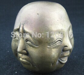 China Old Copper Carving Happy Angry Sad Laugh Buddha Statue