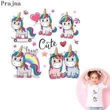 Prajna Unicorn In Love Iron on Patch Cartoon Heat Transfer Vinyl Sticker Cute Horse Iron On Patch For Kids Clothing DIY T-Shirt(China)