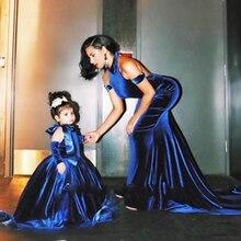 Modern Royal Blue Velvet Evening Dress Mermaid Floor Length Formal Mother and Children Dresses Vestido De Noiva