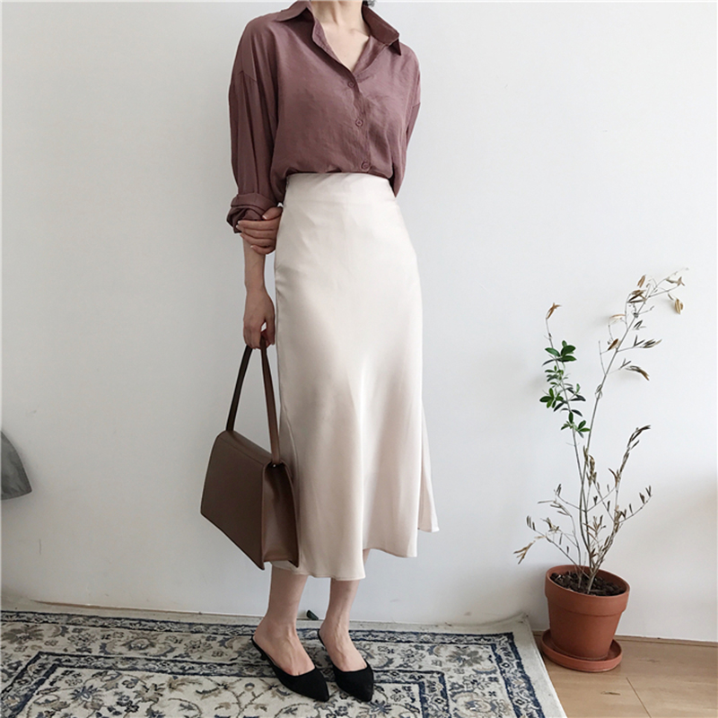 Summer Elegant High Waist Women Long Silky Skirt Brief Solid Color Zipper A-line Midi Skirt