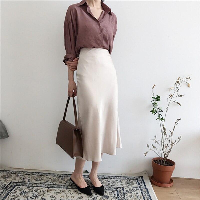 Summer Elegant High Waist Women Long Silky Skirt Brief Solid Color Zipper A-line Midi Skirt