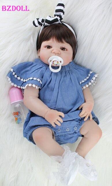 BZDOLL 55 cm Corpo Cheio de Silicone Boneca Reborn Brinquedo Como Verdadeiro 22 polegada Menina Recém-nascidos Bebês Princesa Boneca Banhar garoto de brinquedo de Presente