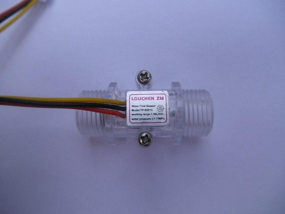 50 pz Trasparente nuovo sensore di flusso d'acqua Misuratore di portata Hall Controllo dell'acqua 1-30L / min 1.75 MPa Sensore di flusso