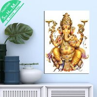 1 Piece Abstract Ganesh Golden HD Printed Canvas Wall Art Posters and Prints Poster Painting Framed Artwork Room Decoration