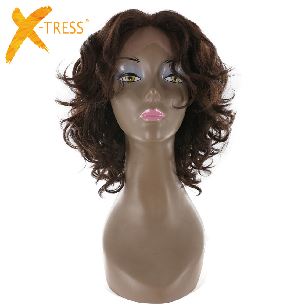 X-TRESS 12 Short Afro Kinky Curly Lace Front Wig Synthetic Free Part Bob Wigs For Black Women High Temperature Fiber Hairpiece