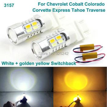 Dla chevroleta Cobalt Colorado Corvette Express Tahoe Excellent 3157 dwukolorowy LED DRL Parking + przedni kierunkowskaz