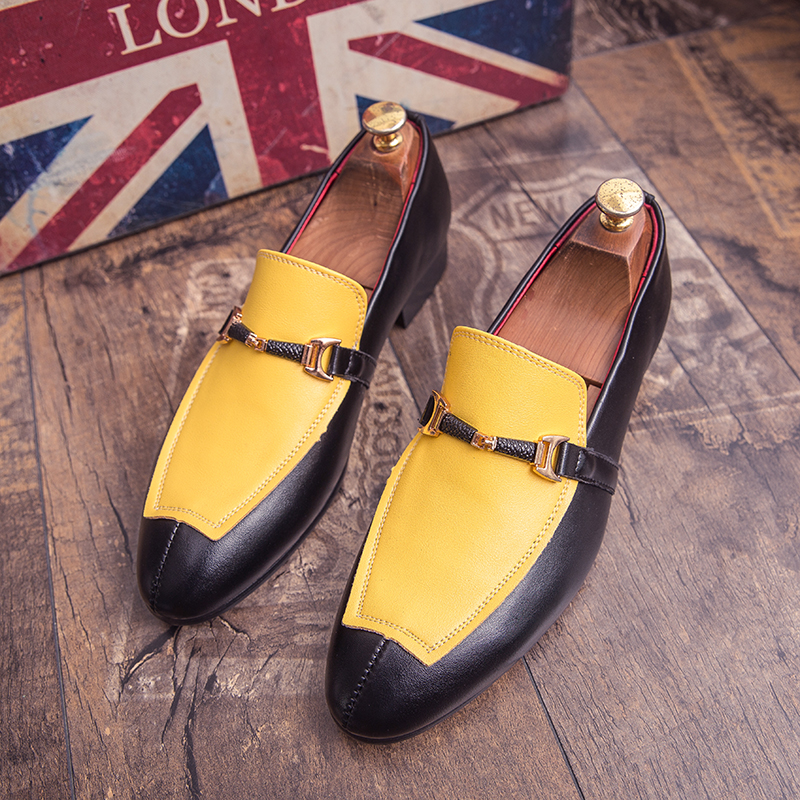 New Luxury Men Young Casual Shoes Slip On Business Shoes For Mens Yellow Black Man Social Shoe Fashion Groom Wedding Dress Shoe