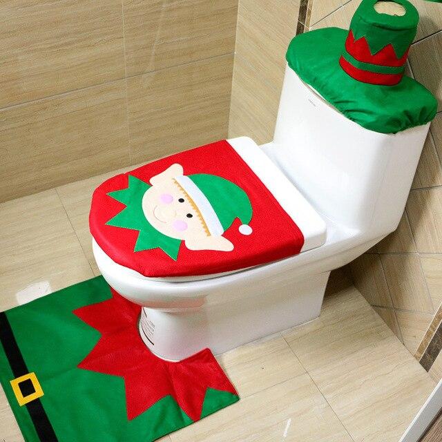 Set De Baño De Navidad:2016 Navidad Cubierta de Asiento de Inodoro y Alfombra de Baño Set