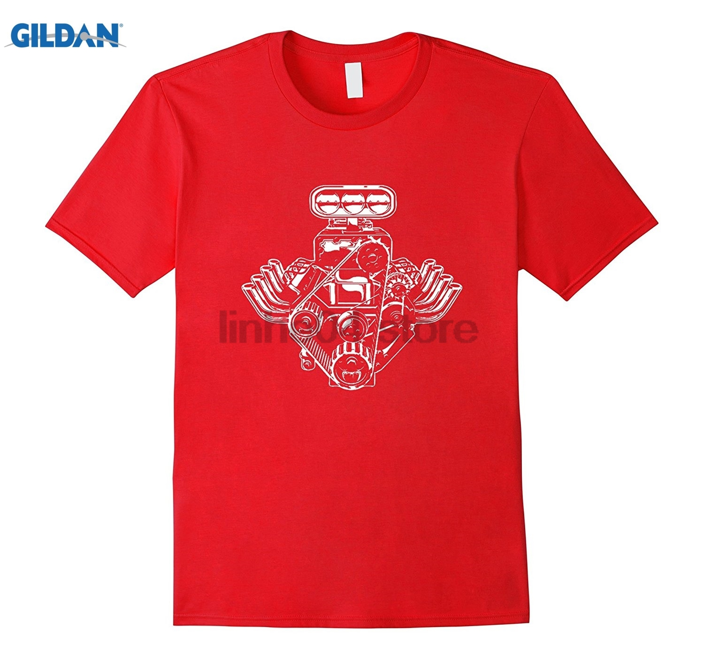 GILDAN Car Engine Motor T-Shirt American Muscle Car Pistons Tee Shi