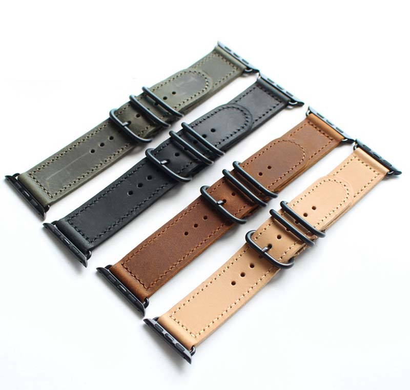 Genuine leather watch bracelet accessories for apple watch strap 38mm black green brown apple watch band 42mm iwatch watchbands maikes 18mm 20mm 22mm watch belt accessories watchbands black genuine leather band watch strap watches bracelet for longines