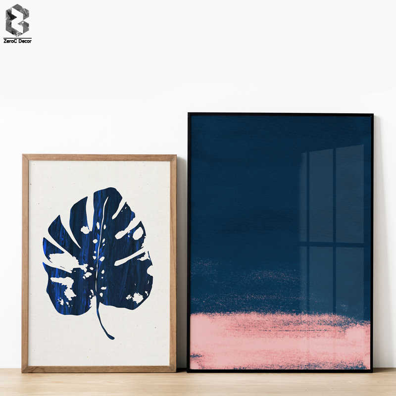 Nordic Decoration Leaf Wall Art Canvas Poster and Print Blue and Pink Abstract Painting Picture for Living Room Home Decor