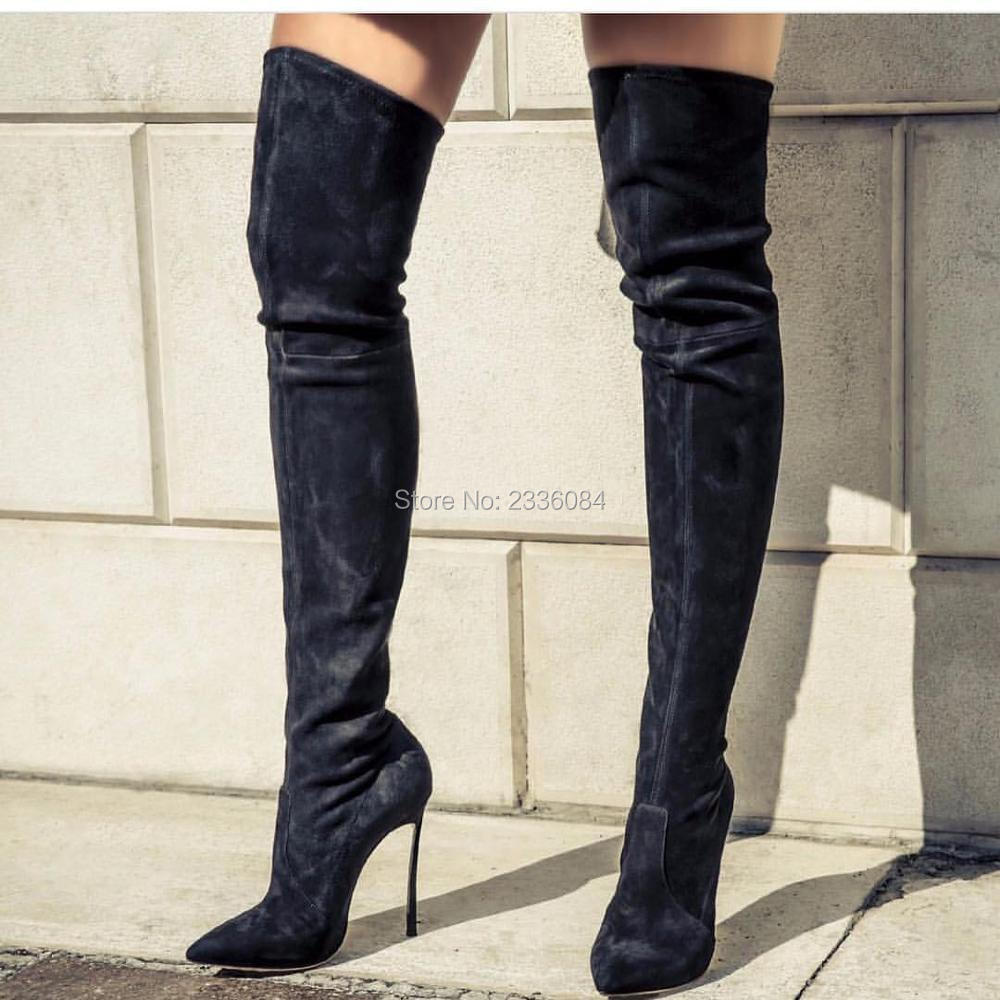 2018 Autumn Women Boots Stretch Faux Suede Slim Thigh High Boots Fashion Sexy Over the Knee Boots High Heels Shoes Woman mudibear women fux suede thigh high boots fashion over the knee boot stretch flock sexy overknee high heels woman shoes red