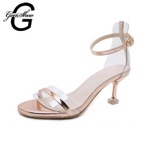 GENSHUO 2021 yaz kadın Stiletto sandalet kadın ayakkabısı markaları seksi yaz topuklu dans sandalet ayakkabı kadın pompaları altın gümüş