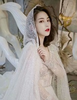 2018 hot sale luxury glitter bling long ivory bridal veil with hat 1.2 meters train one layer cathedral wedding veils