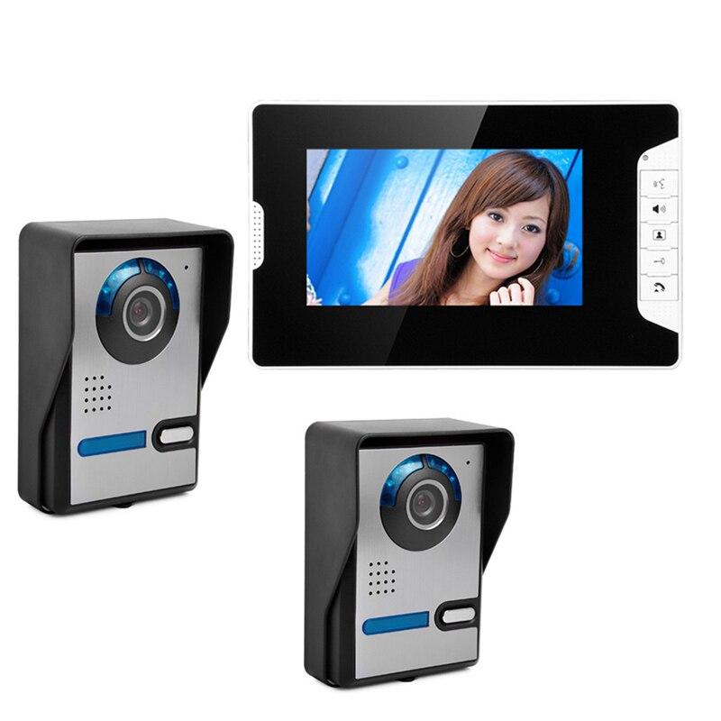"Free Shipping 7"" Color LCD Video Doorbell Monitor Door Phone Intercom System +2 Outdoor Waterproof Door Camera +1 White Monitor"