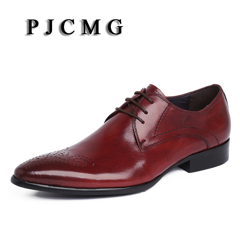 PJCMG Men Oxfords British Style Carved Genuine Leather Brogue Lace-Up Pointed Toe Bullock Business Men's Flats Shoes цены онлайн