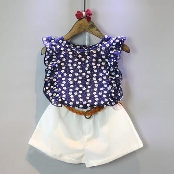 2018 New Summer Item Girl Flower Suit Including Top+Shorts 2pcs Per Set conjuntos casuales para niñas