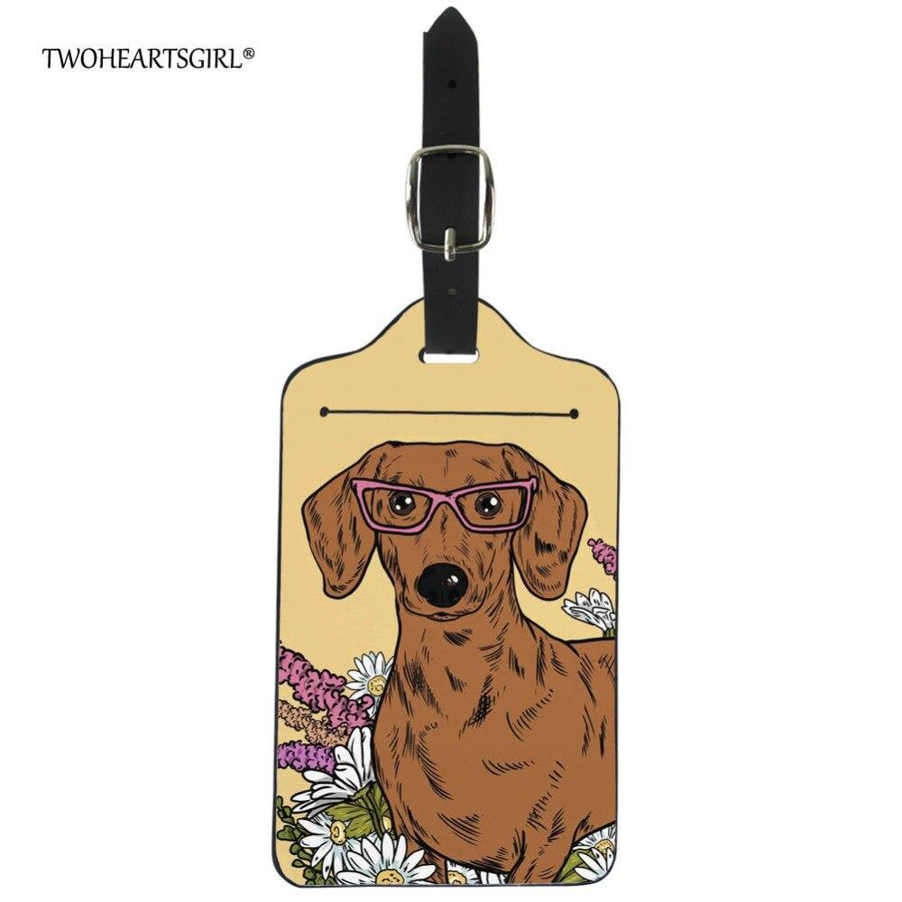 Twoheartsgirl Kawaii Dachshund Dog Print Travel Luggage Tag Pu Leather Suitcase ID Name Address Label Holder Travel Accessories