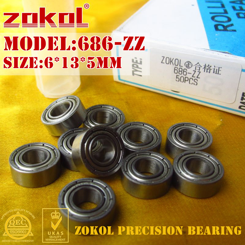 ZOKOL 686ZZ Bearing 686 ZZ P5Z4 686zz Miniature  Deep Groove Ball Bearing 6*13*5/4/3.5mm