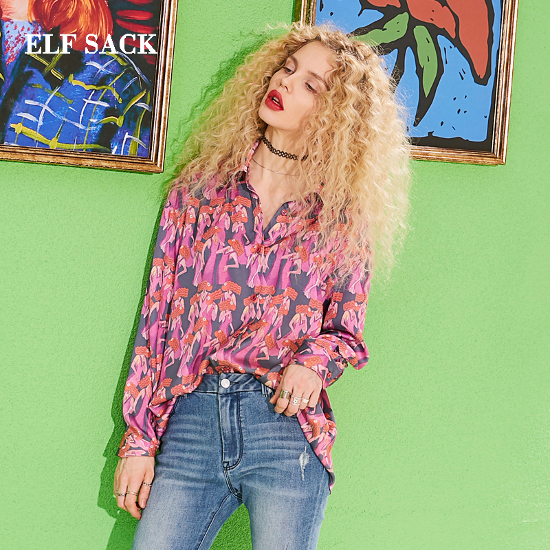 ELF SACK 2019 New Spring Stylish Full Woman Shirt Casual Print Turn down Collar Women Blouse