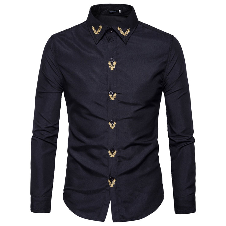 Brand 2018 Fashion Male Shirt Long-Sleeves Tops Embroidered Casual High Quailty Mens Dress Shirts Slim Men Shirt XXL
