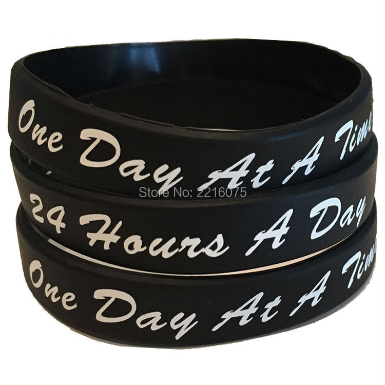 300pcs One Day At A Time 24 Hours Silicone Wristband Rubber Bracelets Free Shipping By Dhl Express In Cuff From Jewelry Accessories On
