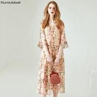 Платье из натурального шелка Для женщин натуральный шелк 2019 элегантный Летнее платье с цветочной расцветкой Фея темперамент платье тонкий