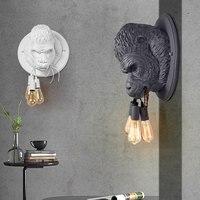 Lámpara de pared estilo gorila de resina nórdica  aplique de pared Led moderno Retro Para el hogar  Loft  dormitorio  cabecera  decoración de pared  luminaria