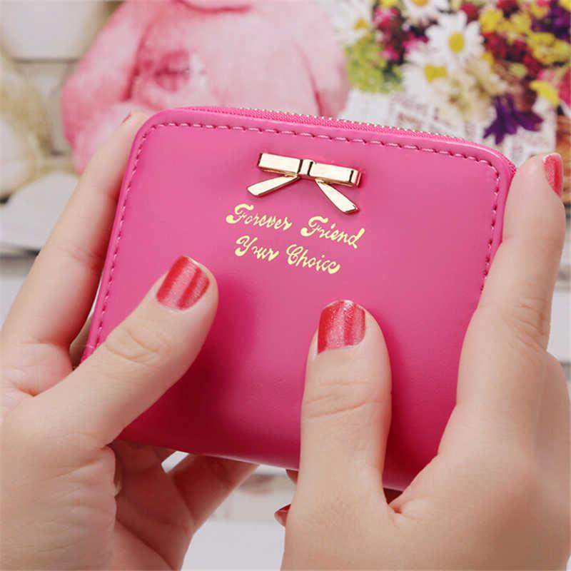 Linda chica Bowknot moneda carteras de cuero sintético de sección cuadrada forma de paquete de tarjeta Mini monederos 7619