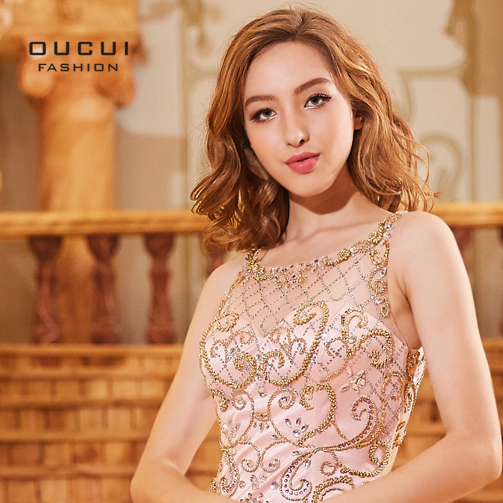 3040c75b26 Oucui Pink Prom Dresses Long 2018 Hand Made Crystal Beading See through Sexy  Elegant Mermaid Evening Dress Formal OL103307-in Prom Dresses from Weddings  .