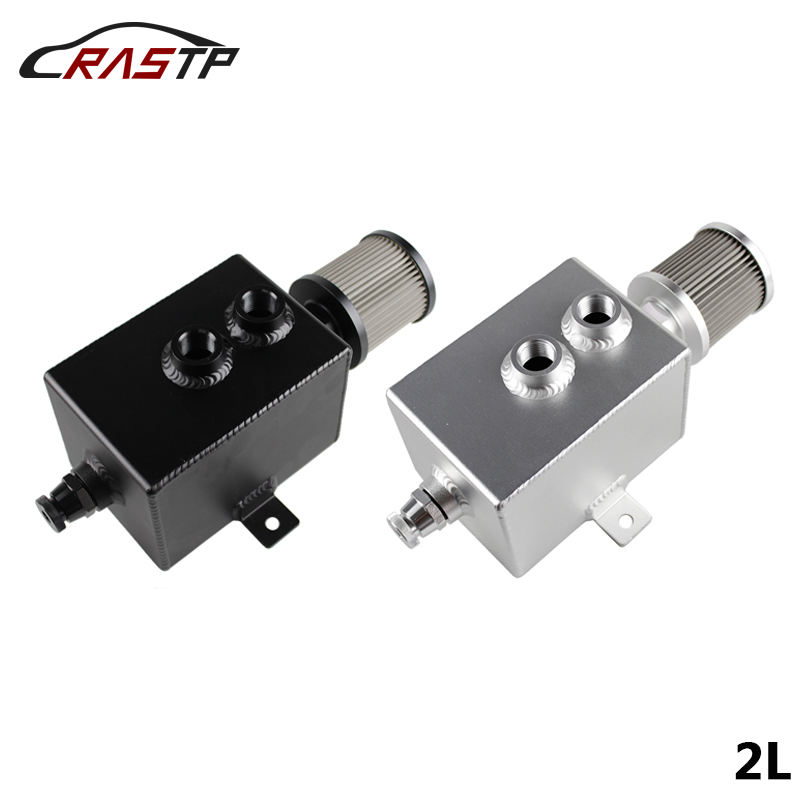 RASTP-Universal Aluminum 2L Oil Catch Can AN10 Fittings Oil Tank With Breather Filter& Drain Tap Baffled Fuel Tank RS-OCC010 baldwin bf7949 dm secondary fuel element with removable drain