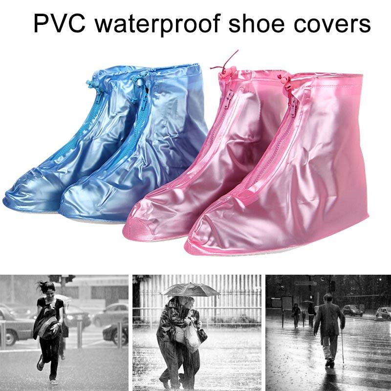 Thick Waterproof Shoe Cover Men Women Rain Waterproof PVC Boots Heels Shoes Covers Thicker Non-slip Shoes Zipper Cover XR-Hot