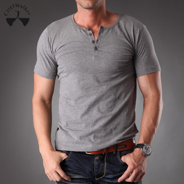 dac3e24a1694 Plain grey fashion three button down men cotton spandex muscle body slim fit  short sleeve blank t shirt men MT 1355-in T-Shirts from Men's Clothing on  ...