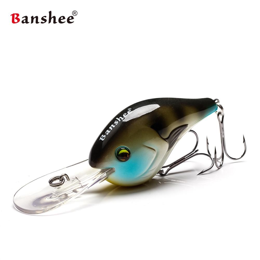Banshee 75mm 24g isca de pesca flutuante wobbler pesca crankbait profundo manivelas chocalho isca artificial duro wobbler para trolling