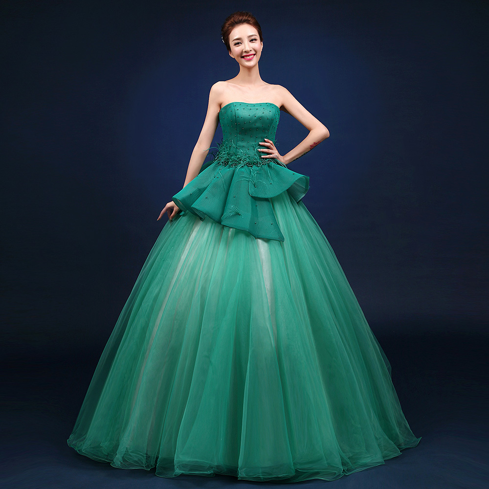 green beading ruffled waist ball gown princess medieval dress Renaissance Gown queen Victoria/Antoinette/ball gown/Belle Ball
