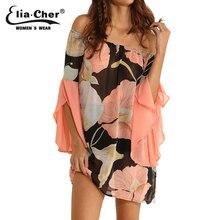 Eliacher 2016 Women Print Boho Chiffon Slash Neck Dress Half Sleeve Plus Size S-XXXL Casual Evening Party Dresses vestidos