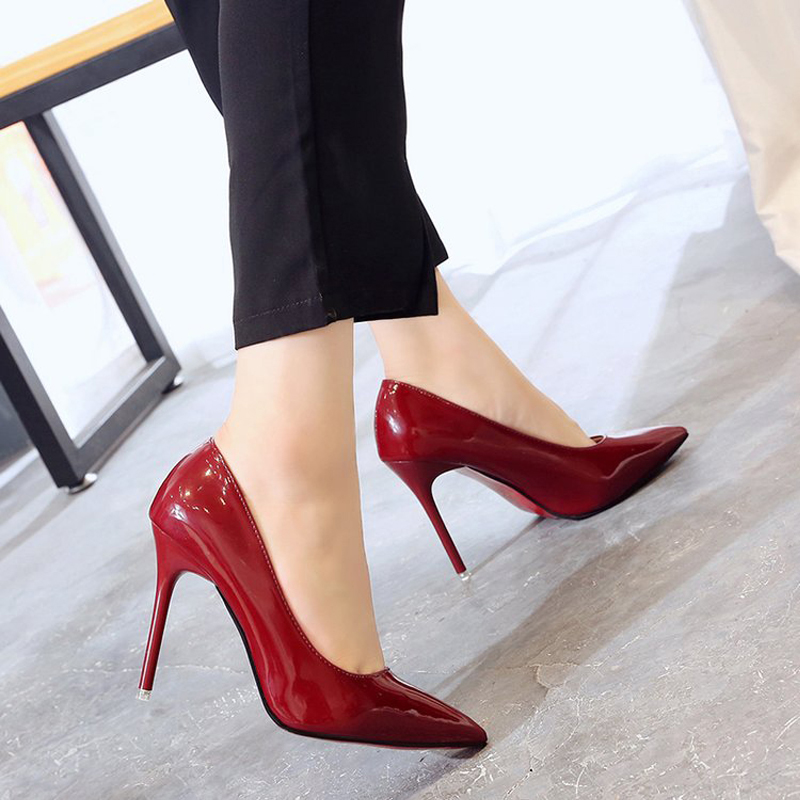 Shoes Women High Heels 2019 Summer Pumps Female Concise Black Blue Thin Heels Office Lady Ladies Shoe Zapatos De Mujer Fashion