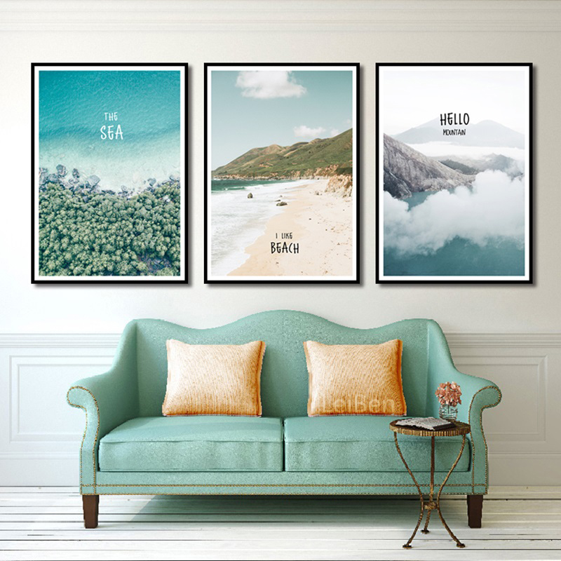 Simple Paint By Numbers Landscape Painting Beach Vacation Poster Print Letter Canvas Painting Picture Home Wall Art Decoration