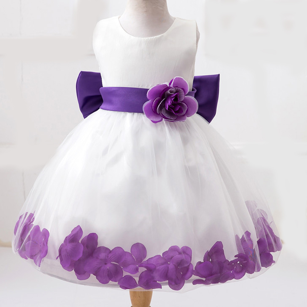 2 7T Kids Flower Girl Princess Dresses for Party and Wedding Toddler Junior Girls Bow Pageant