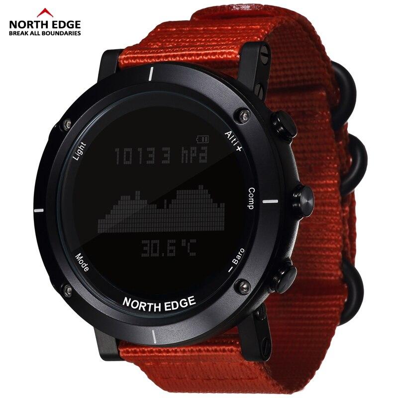 Relojes inteligentes hombres deportes al aire libre reloj resistente al agua 50 m pesca altímetro barómetro brújula termómetro altitud horas al norte de borde