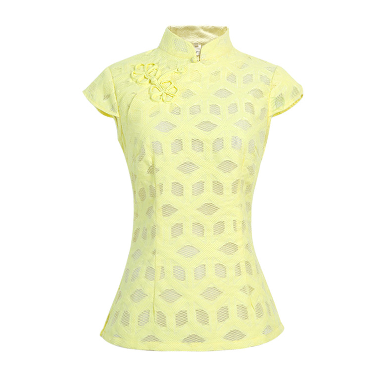 New Sexy Hollow Solid Female Satin Short Sleeve Shirt Mandarin Collar Blouse Chinese Women's Novelty Button Tops S -XXL SY011
