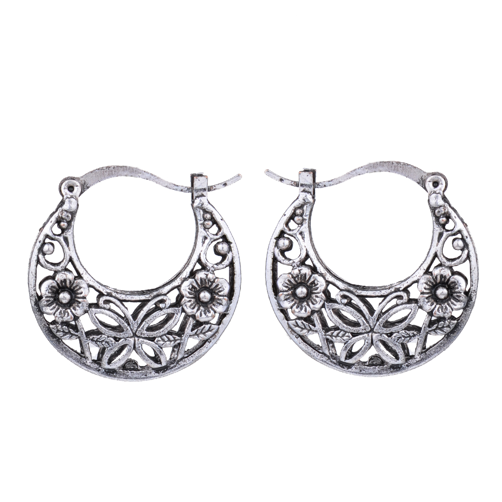 1c2e479bc2 Ethnic Antique Tibetan Silver Color Hollow Fligree Round Hoop ...