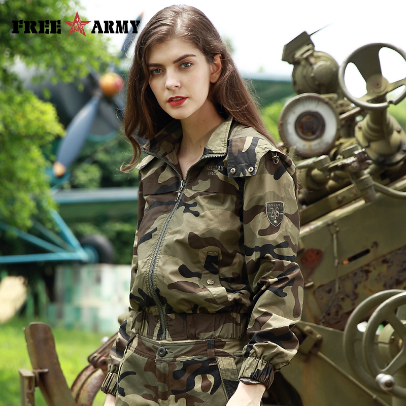 a29a146d4a2d2 FreeArmy Brand Women's Fashion Jacket Hooded Autumn Camouflage Coats Zipper  Up Female Bomb Ladies Coats and Jackets Women