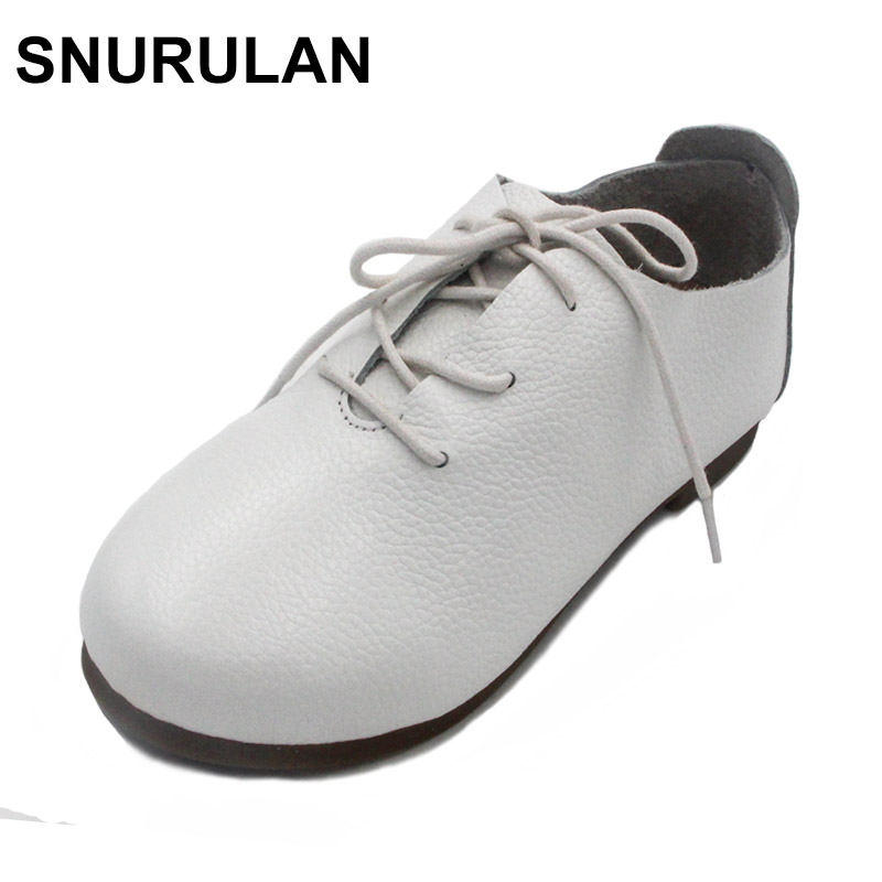 SNURULAN Women s Flat Shoes Genuine Leather Casual Lace Up Shoes Round toe Female Footwear Slip
