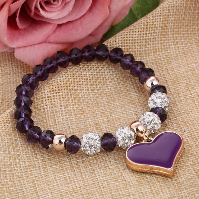 Romantic Colorful Women's Bracelet with Heart-Shaped Pendant