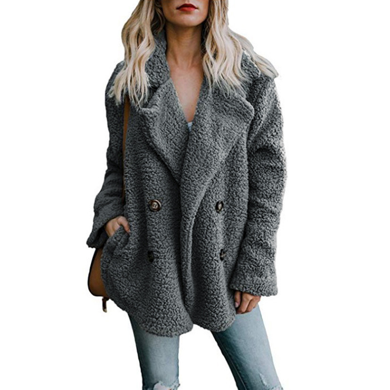 Solid Coat Women Autumn Spring Wide Lapel Loose Warm jacket Outwear Female Casual Jumper Ladies Loose Blend Coat Faux fur Ladies