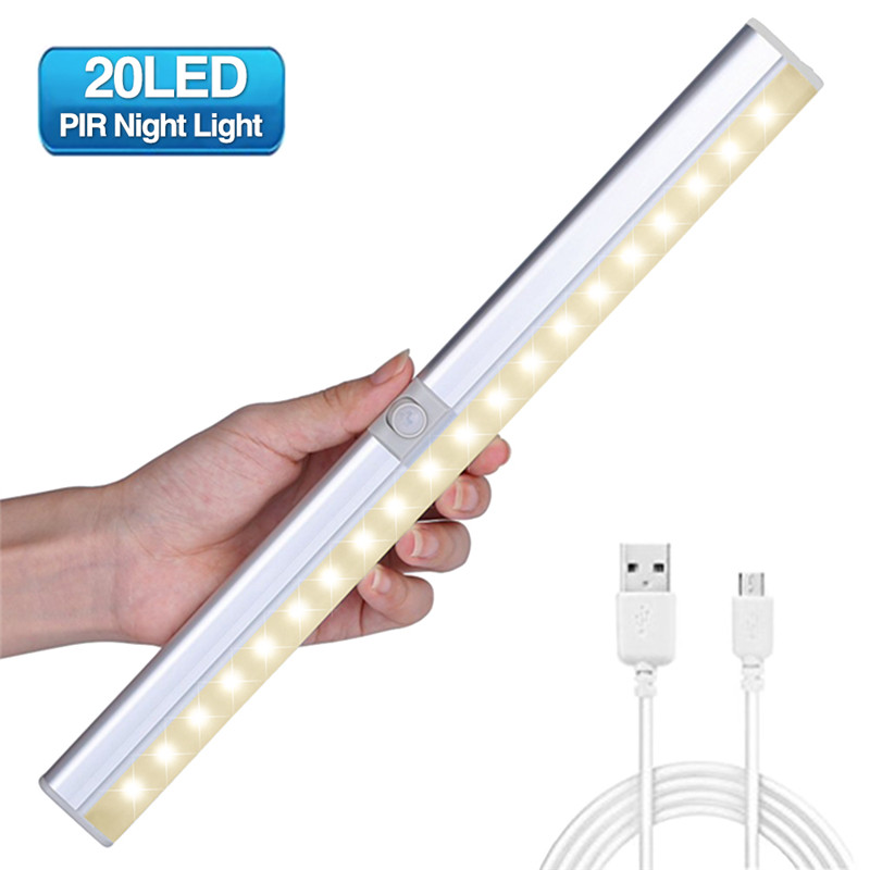 CLAITE Portable 20 LED Under Cabinet Light Rechargeable Light Sensor & PIR Mtion Closet Wall lamp Kitchen Wardrobe Night Light pir motion sensor 20 led under cabinet light closet wall lamp led rigid strip bar light kitchen wardrobe emergency night light